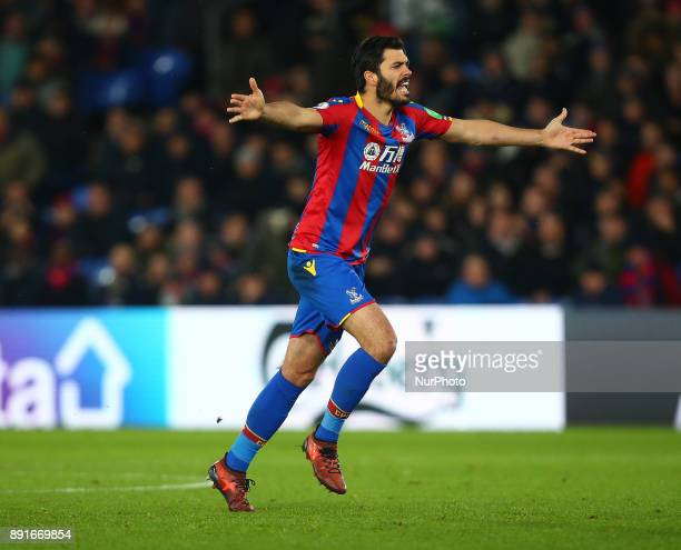 Crystal Palace's James Tomkins during Premier League match between Crystal Palace and Watford at Selhurst Park Stadium London England 12 Dec 2017