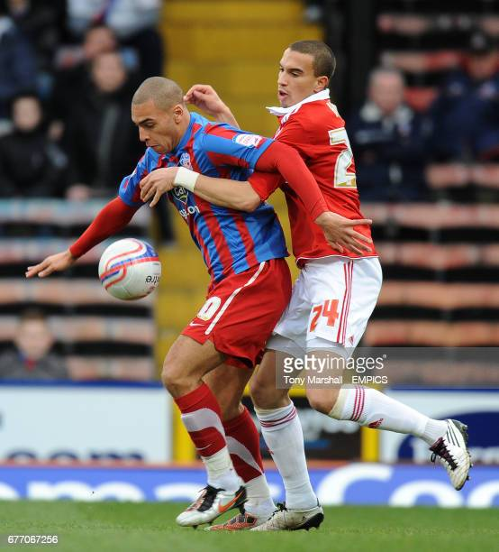 Crystal Palace's James Vaughan and Middlesbrough's Seb Hines