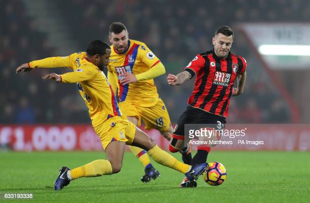 Crystal Palace's Jason Puncheon challenges and fouls AFC Bournemouth's Jack Wilshere during the Premier League match at the Vitality Stadium...
