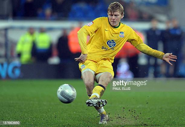 Crystal Palace's Jonathan Parr misses the final penalty against Cardiff City in their League Cup semi final football match against Crystal Palace in...