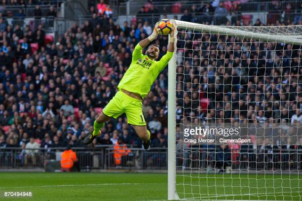 Crystal Palace's Julian Speroni makes a save during the Premier League match between Tottenham Hotspur and Crystal Palace at Wembley Stadium on...