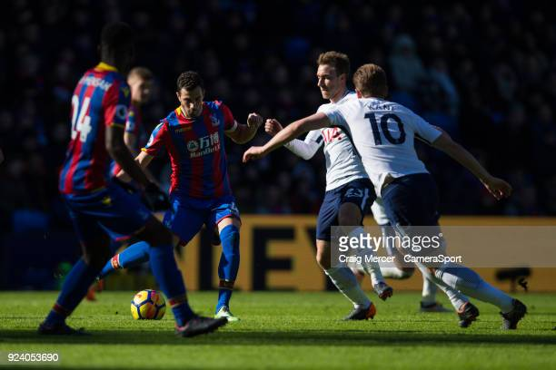 Crystal Palace's Luka Milivojevic under pressure from Tottenham Hotspur's Christian Eriksen during the Premier League match between Crystal Palace...