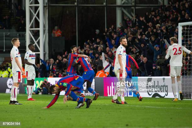 Crystal Palace's Mamadou Sakho celebrates scoring his side's second goal with team mate James Tomkins during the Premier League match between Crystal...