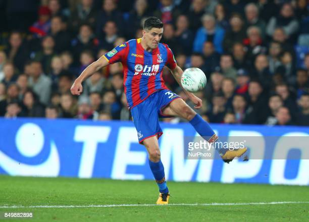 Crystal Palace's Martin Kelly during Carabao Cup 3rd Round match between Crystal Palace and Huddersfield Town at Selhurst Park Stadium London England...