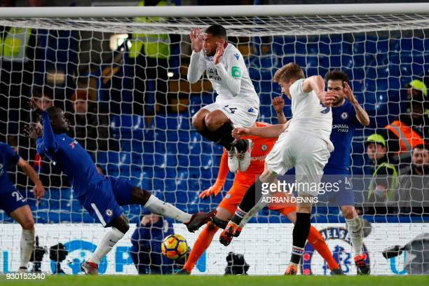 TOPSHOT Crystal Palace's Norwegian striker Alexander Sorloth drills the ball into the net but the goal is disallowed during the English Premier...