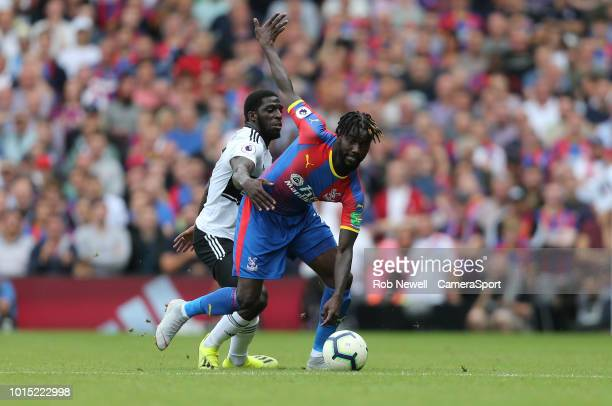 Crystal Palace's Pape Souare and Fulham's Aboubakar Kamara during the Premier League match between Fulham FC and Crystal Palace at Craven Cottage on...