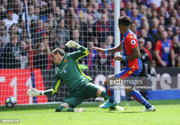 Crystal Palace's Patrick van Aanholt scores his sides fourth goal during the Premier League match against Hull City at Selhurst Park on May 14 2017...