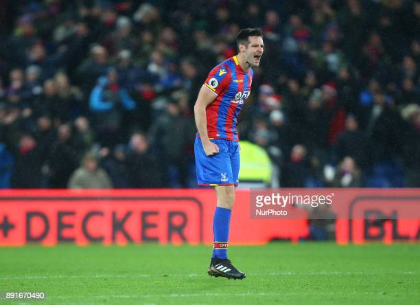 Crystal Palace's Scott Dann celebrates his sides first goal during Premier League match between Crystal Palace and Watford at Selhurst Park Stadium...