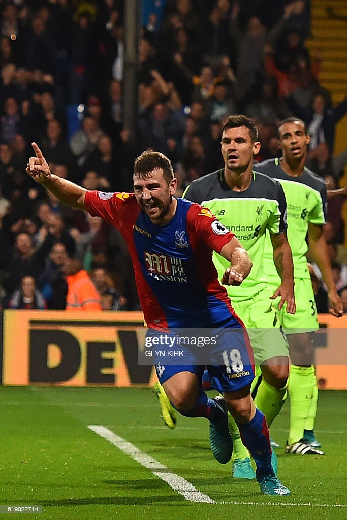 Crystal Palace's Scottish midfielder James McArthur celebrates after scoring his second goal during the English Premier League football match between Crystal Palace and Liverpool at Selhurst Park in south London on October 29, 2016. / AFP / Glyn KIRK / RESTRICTED TO EDITORIAL USE. No use with unauthorized audio, video, data, fixture lists, club/league logos or 'live' services. Online in-match use limited to 75 images, no video emulation. No use in betting, games or single club/league/player publications. /