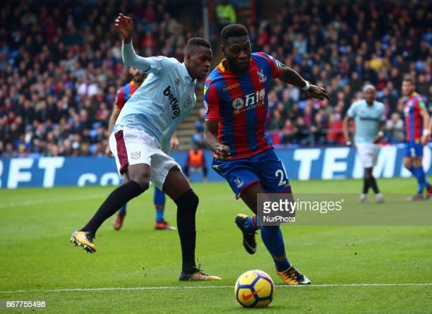 Crystal Palace's Timothy FosuMensah during Premier League match between Crystal Palace and West Ham United at Selhurst Park Stadium London England on...