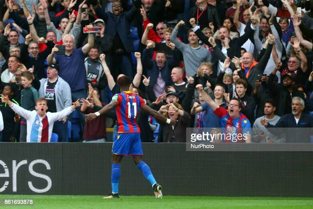 Crystal Palace's Wilfried Zaha celebrate with the Fans during Premier League match between Crystal Palace and Chelsea at Selhurst Park Stadium London...