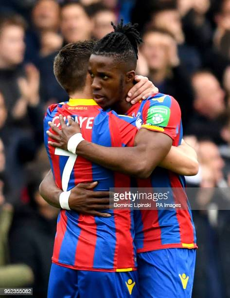 Crystal Palace's Wilfried Zaha celebrates scoring his side's first goal of the game with teammate Yohan Cabaye during the Premier League match at...