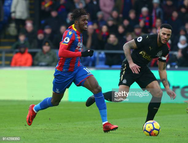 Crystal Palace's Wilfried Zaha during Premier League match between Crystal Palace and Newcastle United at Selhurst Park Stadium London England on 04...