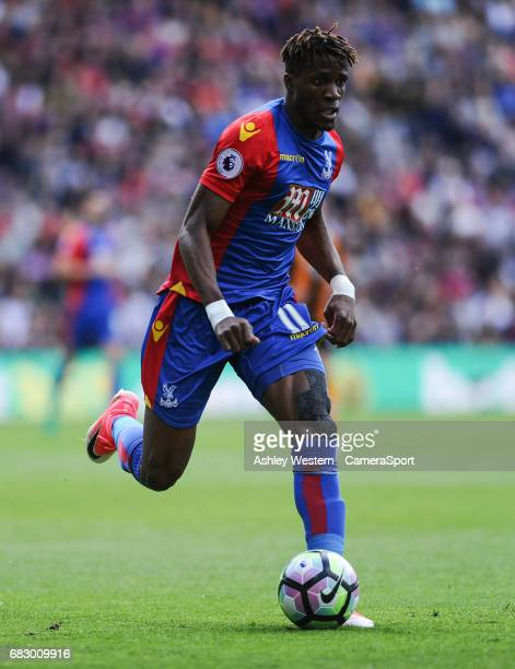 Crystal Palace's Wilfried Zaha in action during the Premier League match between Crystal Palace and Hull City at Selhurst Park on May 14 2017 in...