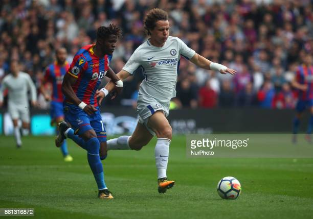 Crystal Palace's Wilfried Zaha takes on Chelsea's David Luiz during Premier League match between Crystal Palace and Chelsea at Selhurst Park Stadium...