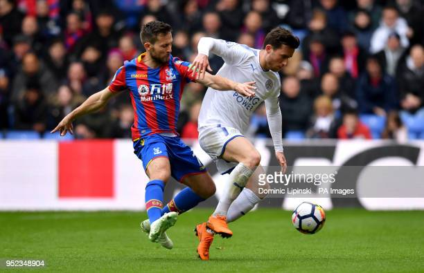 Crystal Palace's Yohan Cabaye and Leicester City's Ben Chillwell battle for the ball during the Premier League match at Selhurst Park London
