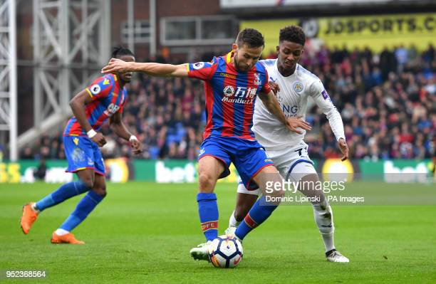 Crystal Palace's Yohan Cabaye and Leicester City's Demarai Gray battle for the ball during the Premier League match at Selhurst Park London