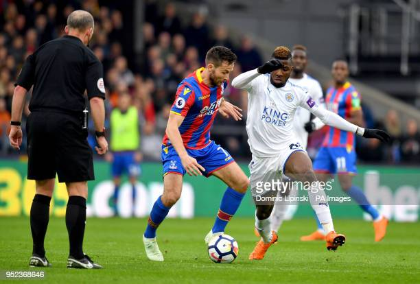 Crystal Palace's Yohan Cabaye and Leicester City's Kelechi Iheanacho battle for the ball during the Premier League match at Selhurst Park London
