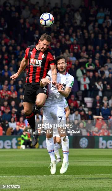 Crystal Palace's Yohan Cabaye battles with Bournemouth's Dan Gosling during the Premier League match between AFC Bournemouth and Crystal Palace at...