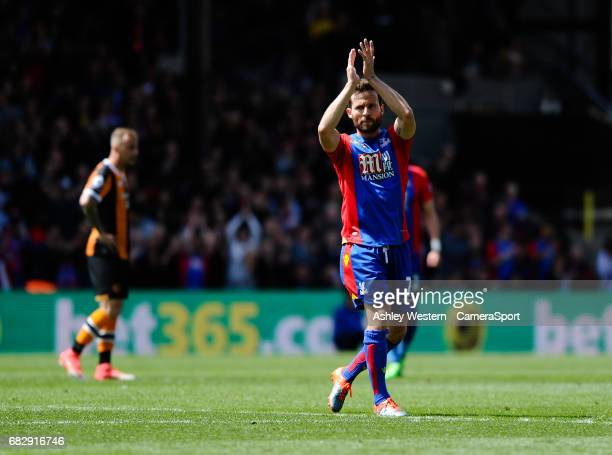 Crystal Palace's Yohan Cabaye salutes the fans as he is substituted during the Premier League match against Hull City at Selhurst Park on May 14 2017...