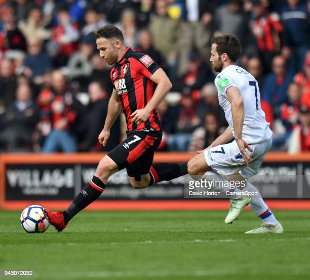 Crystal Palace's Yohan Cabaye vies for possession with Bournemouth's Marc Pugh during the Premier League match between AFC Bournemouth and Crystal...