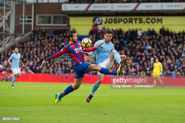 Crystal Palace's Yohan Cabaye vies for possession with Manchester City's Ilkay Gundogan during the Premier League match between Crystal Palace and...
