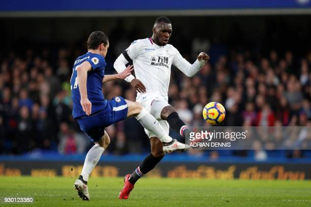 Crystal Palace's Zaireborn Belgian striker Christian Benteke plays the ball during the English Premier League football match between Chelsea and...