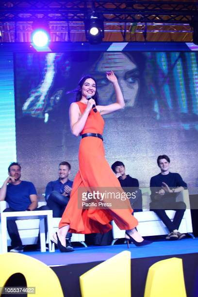 Crystal Reed attends Warsaw Comic Con opening at PTAK Warsaw Expo Center.