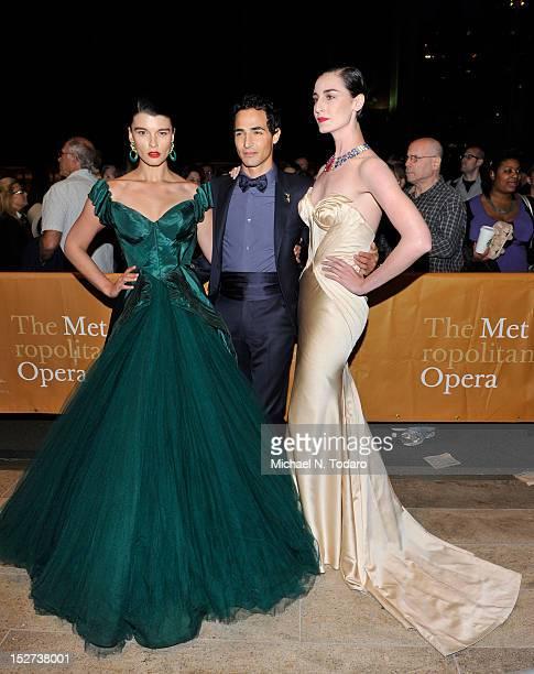 Crystal Renn Zac Posen and Erin O'Connor attend the 2012 Metropolitan Opera season opening night performance of L'Elisir D'Amore at The Metropolitan...