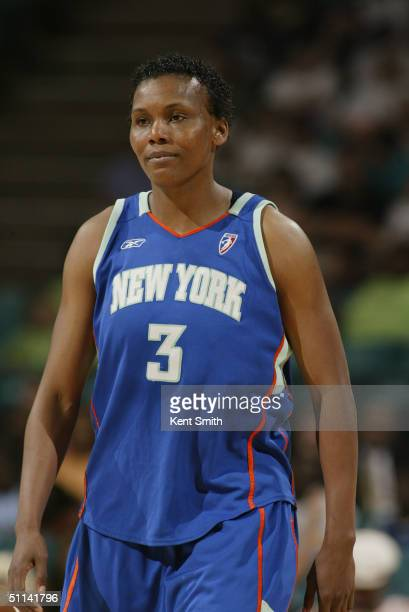 Crystal Robinson of the New York Liberty is on the court during the game against the Charlotte Sting at the Charlotte Coliseum on July 20 2004 in...