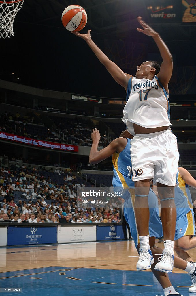 Crystal Robinson #17 of the Washington Mystics reaches for the layup against the Chicago Sky during the game on July 27, 2006 at MCI Center in Washington, D.C. The Mystics won 92-74.