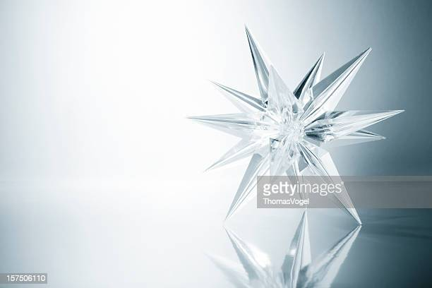 crystal star. ice glass snowflake light snow art christmas - star shape stock pictures, royalty-free photos & images