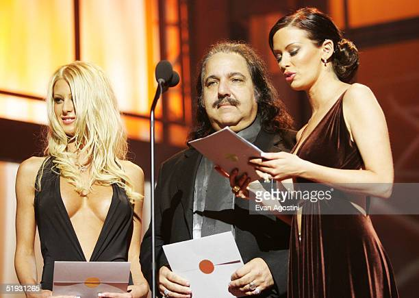 Crystal Steel Ron Jeremy and Jenna Jameson present an award at the 2005 AVN Awards on January 8 2005 at the Venetian Hotel in Las Vegas Nevada