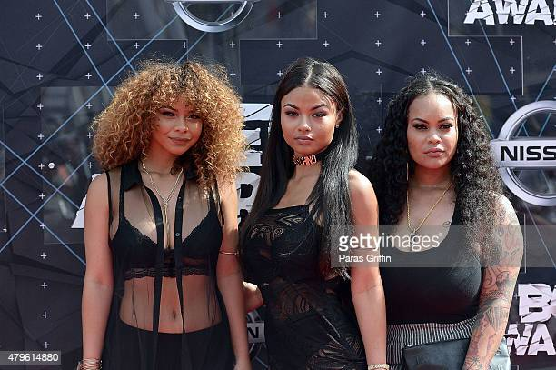 Crystal WestBrooks India Love Westbrooks and Morgan Westbrooks attends the 2015 BET Awards at the Microsoft Theater on June 28 2015 in Los Angeles...