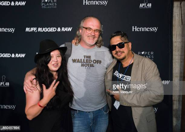 Crystal 'Xiouping' Chang Brian 'B' Cross and Danny Hastings attend the Ruff Rugged Raw Reception hosted by Hennessy at Art Share LA on September 9...