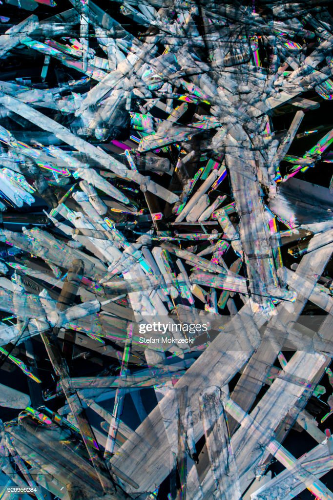 Crystals of magnesium sulphate : Stock Photo
