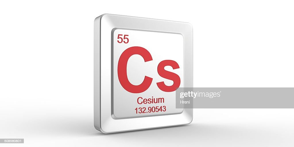Cs symbol 55 material for Cesium chemical element : Stock Photo