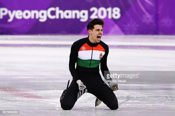 Csaba Burjan of Hungary celebrates after winning the gold medal during the Men's 5000m Relay Final A on day thirteen of the PyeongChang 2018 Winter...
