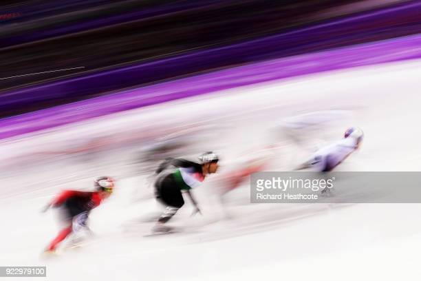 Csaba Burjan of Hungary competes in the Short Track Skating Men's 5000m Relay Final on day thirteen of the PyeongChang 2018 Winter Olympic Games at...