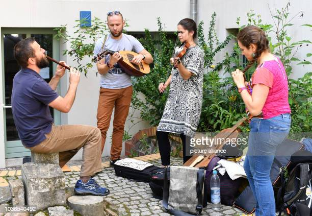 ACsango band playing Hungarian music as part of the Fete de la Musique at Nachbarschaftshaus at Teutoburger Platz in Berlin Germany 21 June 2016...