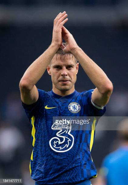 César Azpilicueta applauds the fans Chelsea fans after the Premier League match between Tottenham Hotspur and Chelsea at Tottenham Hotspur Stadium on...