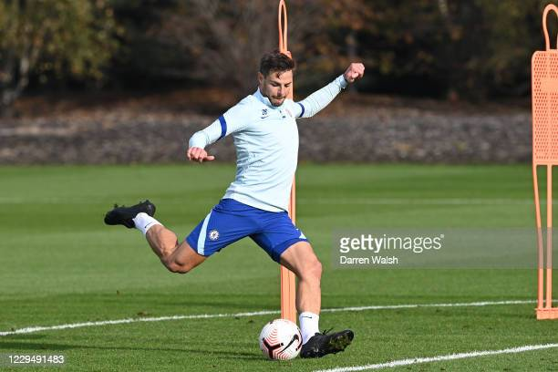 César Azpilicueta of Chelsea during a training session at Chelsea Training Ground on November 6 2020 in Cobham United Kingdom