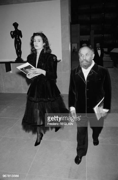 César et Maria Carmen lors de la soirée pour le 75ème anniversaire de l'hopital américain de Paris le 21 janvier 1987 France