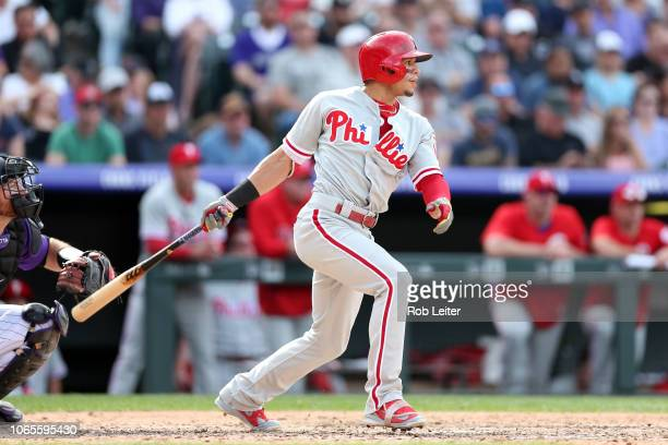 César Hernández of the Philadelphia Phillies bats during the game against the Colorado Rockies at Coors Field on September 27 2018 in Denver Colorado...