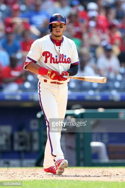 César Hernández of the Philadelphia Phillies looks on during the game against the Miami Marlins at Citizens Bank Park on August 5 2018 in...