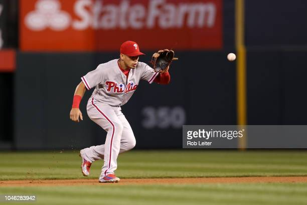 César Hernández of the Philadelphia Phillies plays second base during the game against the Colorado Rockies at Coors Field on September 26, 2018 in...