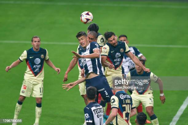 César Montes of Monterrey heads a corner during the 2nd round match between Monterrey and America as part of the Torneo Guard1anes 2021 Liga MX at...