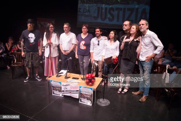 César Strawberry singer of Def with Dos, Sol Sánchez of IU, Enrique Santiago of PCE, representative of Mothers against repression, representative of...