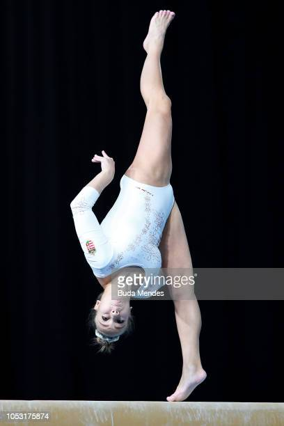 Csenge Maria Backsay of Hungary competes in Women's Balance Beam Qualification during Day 4 of Buenos Aires 2018 Youth Olympic Games at America...