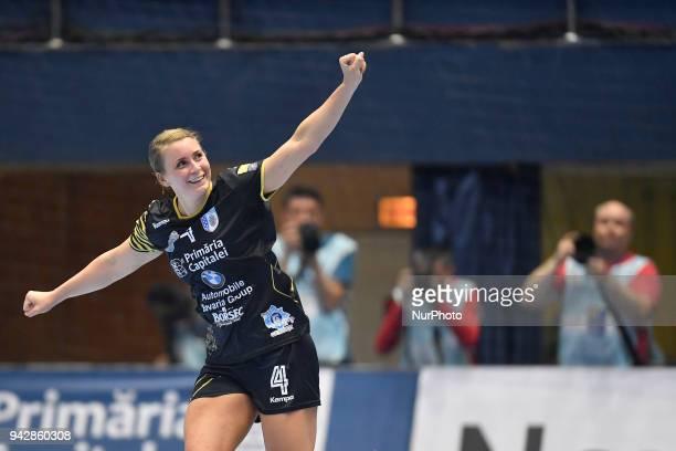 Csm Bucharest's Isabelle Gullden reacts during 2017/18 EHF Women's Champions League Quarter Final match between CSM Bucharest and Metz Handball at...